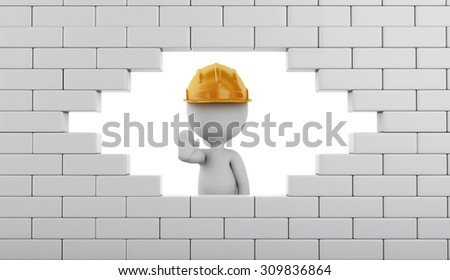 3d renderer image. Broken Brick Wall with white people, Isolated on white. Construction concept. - stock photo