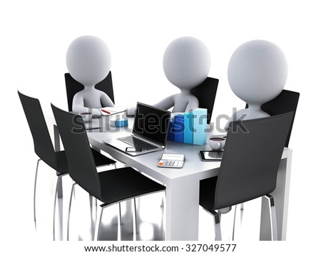 3d renderer image. Business people in a Office meeting room. Business partners