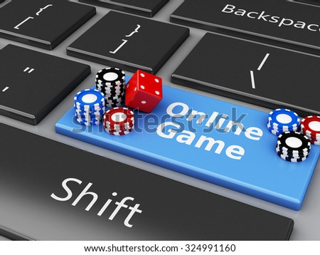 3d renderer image. Casino chips and dice on the computer keyboard. Casino online games concept. - stock photo