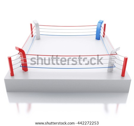3d renderer image. 3d Boxing ring against isolated white background. Sports concept.