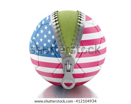 3d renderer image. 3d Soccer ball with flag of United States. Sport concept. Isolated white background. - stock photo