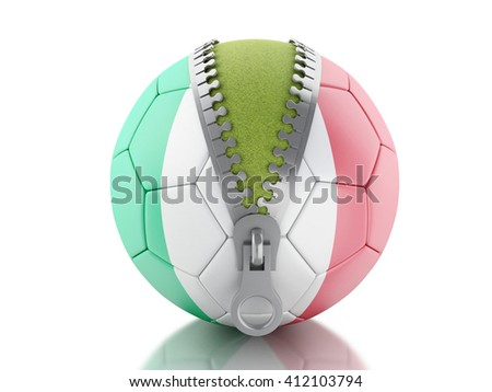 3d renderer image. 3d Soccer ball with Italian flag. Sport concept. Isolated white background. - stock photo