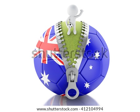 3d renderer image. 3d white people on top of soccer ball with Australian flag. Sport concept. Isolated white background. - stock photo