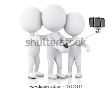 3d renderer image. 3d white people taking selfie with selfie stick and smartphone. Isolated white background.