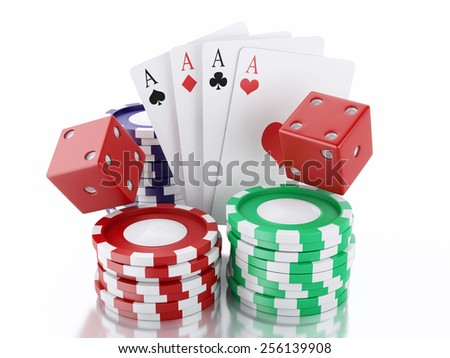 3d renderer image. Dice, cards and chips. Casino concept, isolated white background.