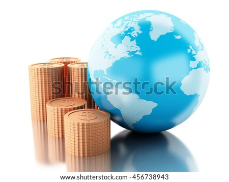 3d renderer image. Globe with coins. Global money concept. Isolated white background.
