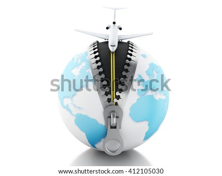 3d renderer image. Globe with zipper open and airplane on top, landing on road. Travel concept. Isolated white background. - stock photo