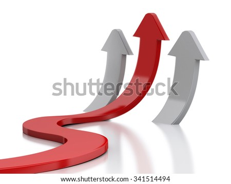 3d renderer image. Graph arrow. Success in business. Isolated white background