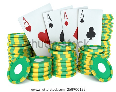 3d renderer image. Green casino tokens and Playing Cards. Casino concept - stock photo