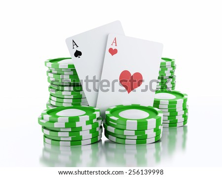 3d renderer image. Green casino tokens and Playing Cards. Casino concept, Isolated white background - stock photo