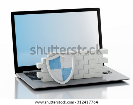 3d renderer image. Laptop with brick wall. Firewall concept. Isolated white background - stock photo