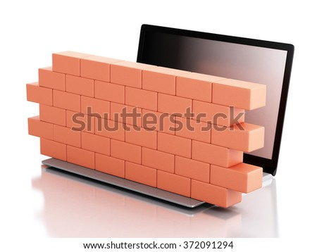 3d renderer image. Laptop with brick wall. Firewall concept. Isolated white background