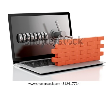 3d renderer image. Laptop with combination Lock and brick wall. Firewall concept. Isolated white background - stock photo