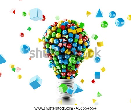 3d renderer image. Light lamp with geometric and colorfull shapes. Isolated white background.
