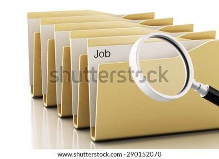 3d renderer image. Magnifying glass examines job in computers files. Isolated white background - stock photo