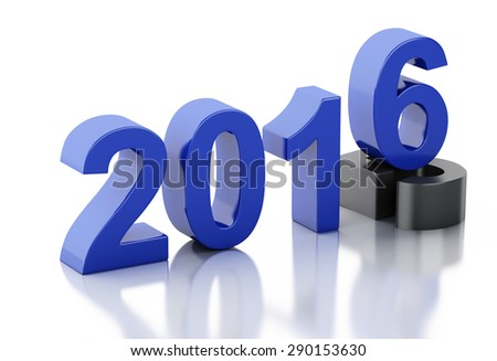 3d renderer image. New Year 2016 isolated on white background.
