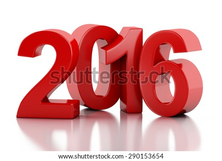 3d renderer image. New Year 2016 isolated on white background. - stock photo