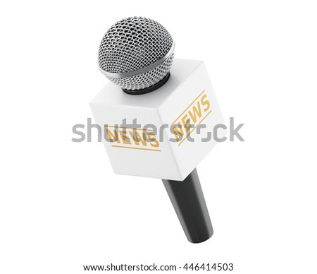 3d renderer image. News microphone tv. News concept. Isolated white background.