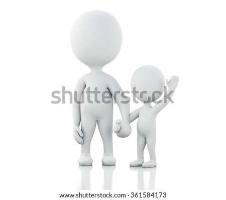 3d renderer image. Parents with children. Family concept. Isolated white background