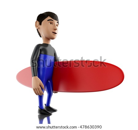 3d renderer image. People with surfboard and wearing equipment. Sport concept. Isolated white background.