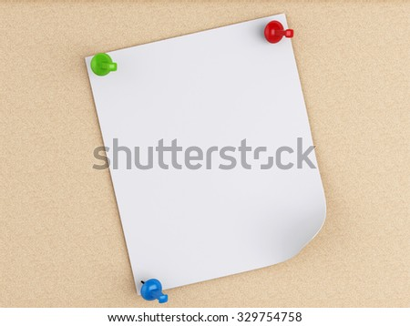 3d renderer image. Post-it notes with pushpin over cork board background. - stock photo