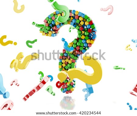 3d renderer image. Question mark with colorful geometric figures. Isolated white background.