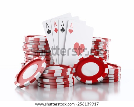 3d renderer image. Red casino tokens and Playing Cards. Casino concept, Isolated white background