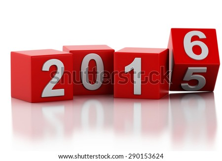 3d renderer image. Red cubes with 2016. New Year concept. Isolated on white background. - stock photo