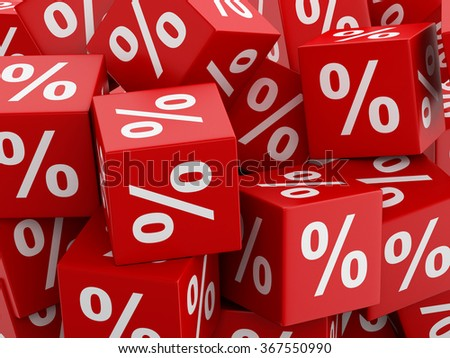 3d renderer image. Red discount cubes. Sale concept. - stock photo