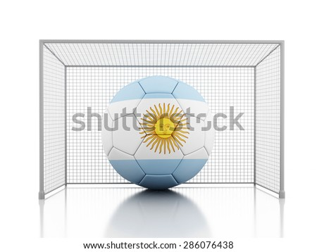 3d renderer image. Soccer ball with Argentina flag. Isolated white background - stock photo