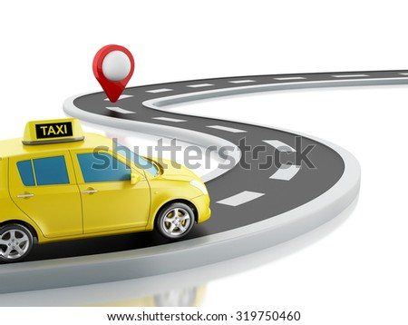 3d renderer image. Taxi car on the road, and map pointer. Isolated white background - stock photo