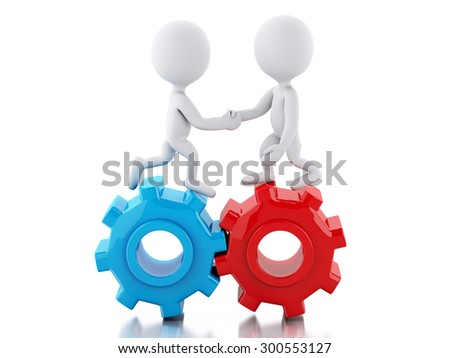 3d renderer image. White business people standing on the gear and make a handshake. Isolated white background
