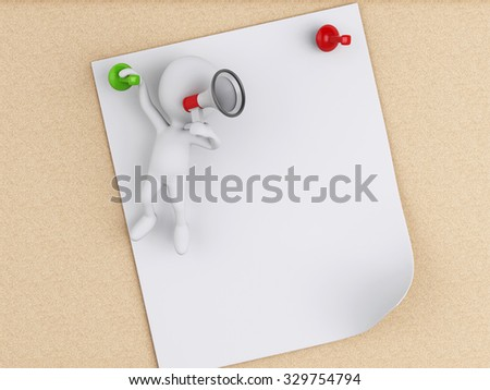 3d renderer image. White people and Post-it notes with pushpin over cork board background. - stock photo