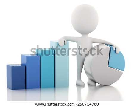3d renderer image. White people business statistic graph. Success concept. Isolated white background - stock photo