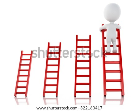3d renderer image. White people climbing ladder. Success in business. Isolated white background