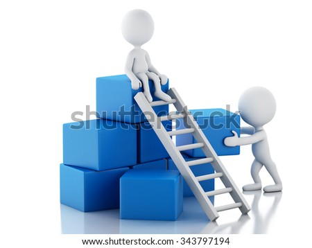 3d renderer image. White people climbing ladders. Teamwork concept. Isolated white background