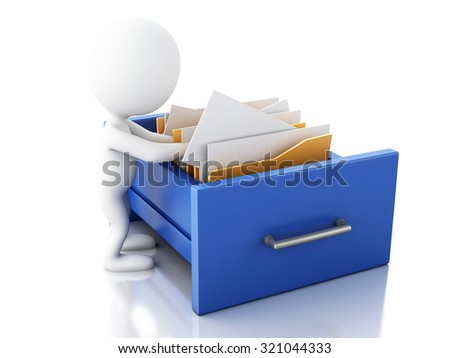 3d renderer image. White people examines file cabinet with folders. Search concept. Isolated white background
