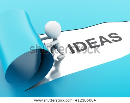 3d renderer image. White people opening torn paper with word ideas. Business concept.