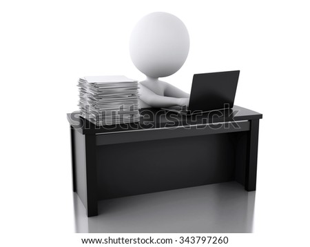 3d renderer image. White people Overworked with stack of documents. Stress in the office. Isolated white background