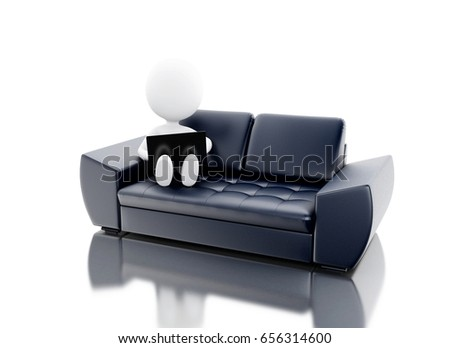 3d renderer image. White people using laptop on couch. Isolated white background.