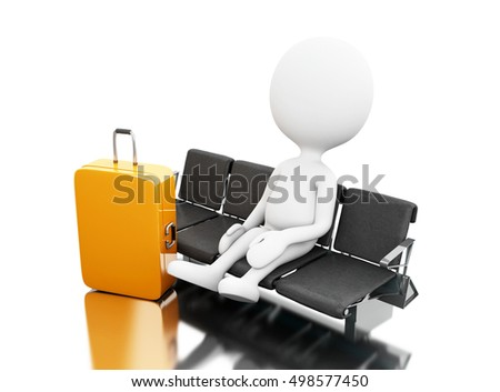 3d renderer image. White people with a luggage waiting on airport. Isolated white background.