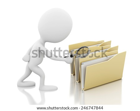 3d renderer image. White people with a magnifier glass examines folders. Isolated white background - stock photo