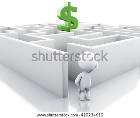 3d renderer image. White people with a maze and dollar sign. Success challenge. Isolated white background. - stock photo