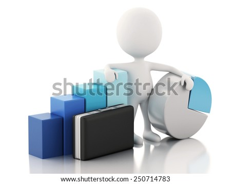 3d renderer image. White people with business statistic graph. Success concept. Isolated white background