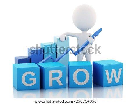 3d renderer image. White people with business statistic graph. Success concept. Isolated white background - stock photo