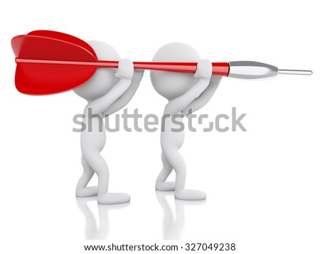 3d renderer image. White people with dart. Teamwork concept. Isolated white background