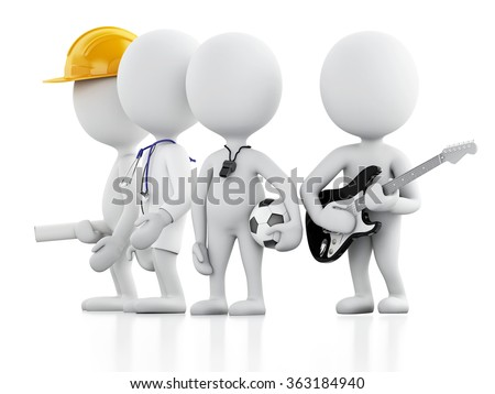 3d renderer image. White people with different professions. Doctor, constructor, musician,  soccer coach. Isolated white background