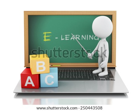 3d renderer image. White people with laptop pc. E- learning concept. Isolated white background - stock photo