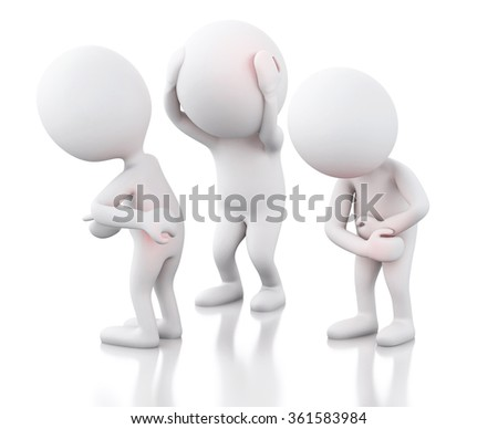 3d renderer image. White people with pain. Medicine concept. Isolated white background - stock photo