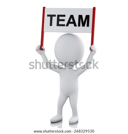 3d renderer image. White people with sign board banner. Team concept. Isolated white background - stock photo